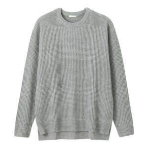 GU ワッフルクルーネックセーターのグレー