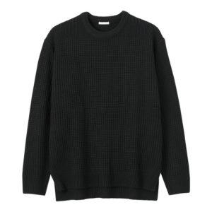 GU ワッフルクルーネックセーターの黒