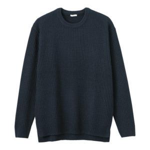 GU ワッフルクルーネックセーターの紺