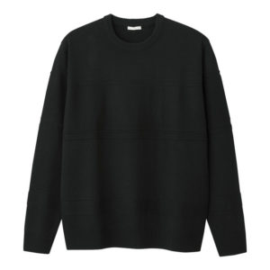 GU シャドーボーダークルーネックセーターの黒