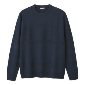GU シャドーボーダークルーネックセーターの紺